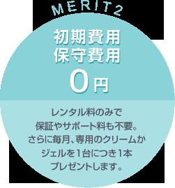 MERIT2:初期費用・保守費用0円 レンタル料のみで保証やサポートも不要。さらに毎月、専用のクリームかジェルを1台につき1本プレゼントします。